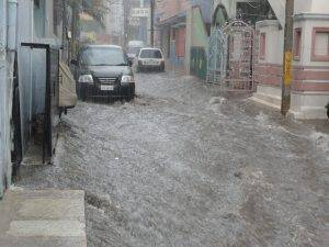 flood damaging buildings
