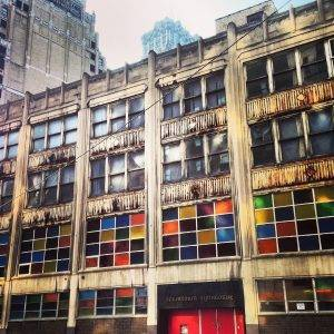 side of building with colored windows